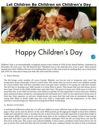 Let Children Be Children on Children's Day