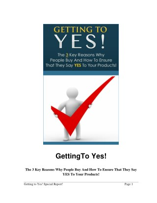 Getting To Yes Guide - How To Getting To Yes