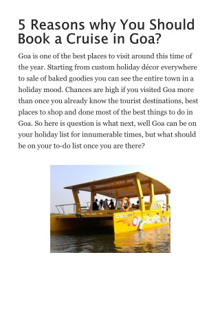 5 Reasons why You Should Book a Cruise in Goa?
