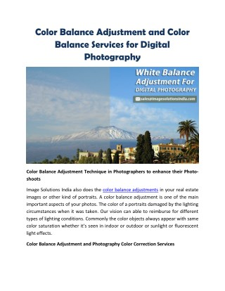 White Balance Adjustment and Color Balance Services for Digital Photography