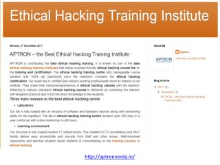 APTRON – The Best Ethical Hacking Training Institute