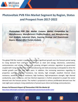 Photovoltaic PVB Film Market Production, Consumption, Export, Import Forecast 2017-2022