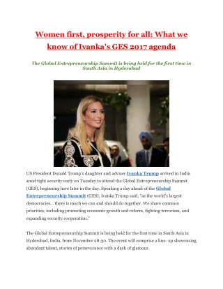 Women first, prosperity for all: What we know of Ivanka's GES 2017 agenda
