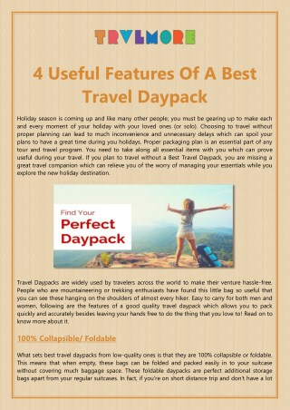 4 Useful Features Of A Best Travel Daypack
