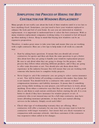 Simplifying the Process of Hiring the Best Contractor for Windows Replacement
