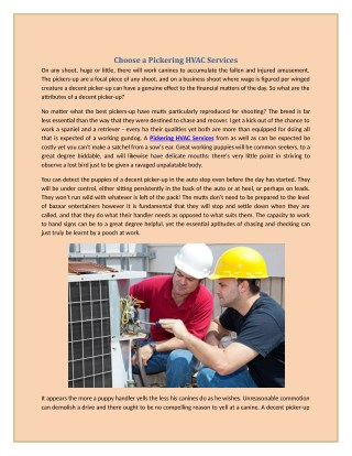 Choose a Pickering HVAC Services