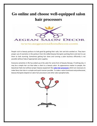 Go online and choose well-equipped salon hair processors