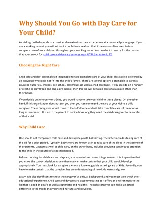 Why Should You Go with Day Care for Your Child?