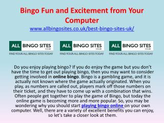 Bingo Fun and Excitement from Your Computer