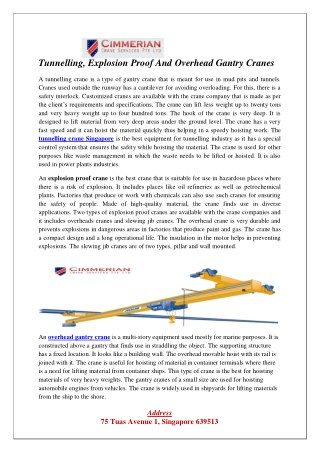 Tunnelling, Explosion Proof And Overhead Gantry Cranes
