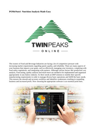 Nutrition Analysis Software With Brand New Features