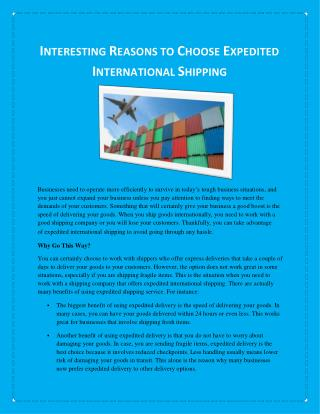 Interesting Reasons to Choose Expedited International Shipping