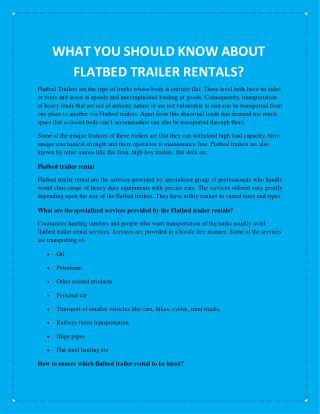 WHAT YOU SHOULD KNOW ABOUT FLATBED TRAILER RENTALS?