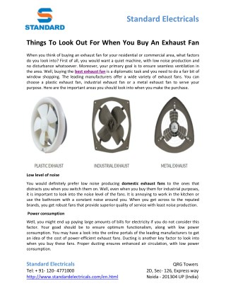 PPT - Things To Look Out For When You Buy An Exhaust Fan