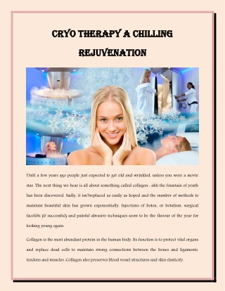 Cryo Therapy A Chilling Rejuvenation