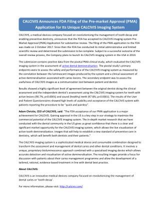 CALCIVIS Announces FDA Filing of the Pre-market Approval (PMA) Application