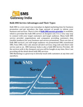 Bulk SMS Service Advantages and Their Types