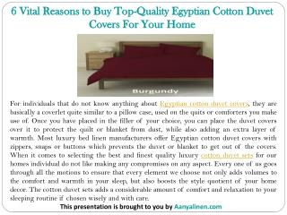 6 Vital Reasons to Buy Top-Quality Egyptian Cotton Duvet Covers For Your Home