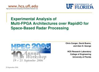 Experimental Analysis of  Multi-FPGA Architectures over RapidIO for Space-Based Radar Processing