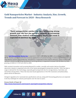 Gold Nanoparticles Market Analysis by Application And Segment Forecasts To 2020