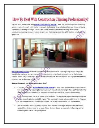 How To Deal With Construction Cleaning Professionally