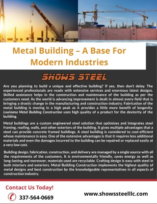 Metal Building – A Base For Modern Industries