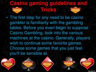 Casino gaming guidelines and Tricks
