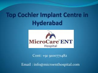 Top Cochler Implant Centre in Hyderabad,India
