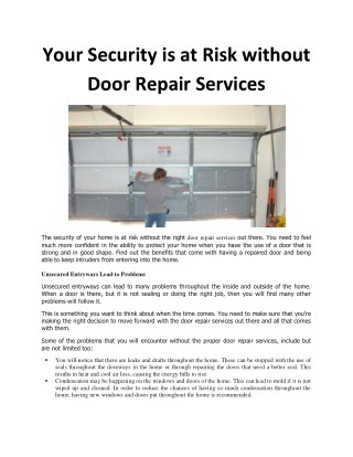 Your Security is at Risk Without Door Repair Services