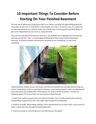 10 Important Things To Consider Before Starting On Your Finished Basement