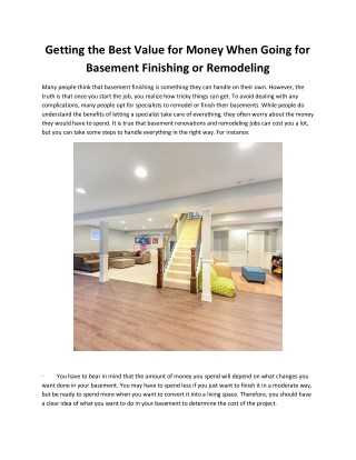 Getting the Best Value for Money When Going for Basement Finishing or Remodeling