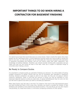 IMPORTANT THINGS TO DO WHEN HIRING A CONTRACTOR FOR BASEMENT FINISHING