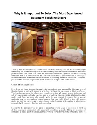 Why Is It Important To Select The Most Experienced Basement Finishing Expert?
