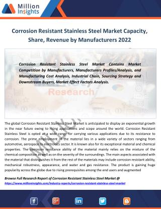 Corrosion Resistant Stainless Steel Market Value, Sales and Trends From 2017-2022