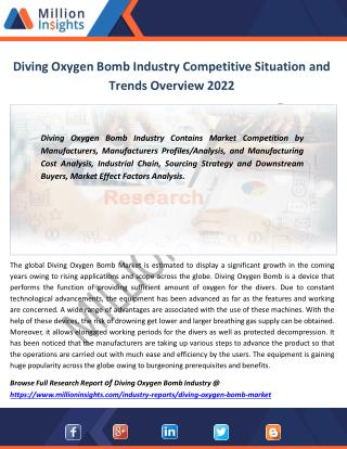 Diving Oxygen Bomb Market Production, Consumption, Export, Import Forecast 2017-2022
