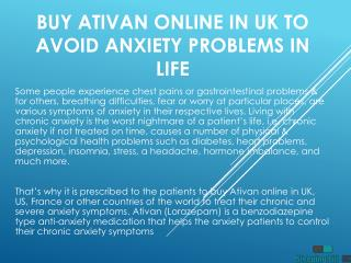 Buy Ativan Online in UK to Avoid Anxiety Problems in Life