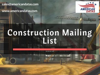 Construction Mailing List | Construction Email List | Mailing Addresses