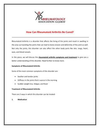 Discuss about Rheumatoid Arthritis Symptoms and Treatment
