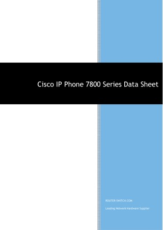 Cisco ip phone 7800 series data sheet
