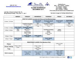 Dec 2017 class schedule