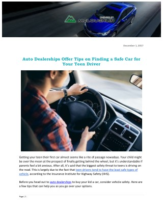 Auto Dealerships Offer Tips on Finding a Safe Car for Your Teen Driver
