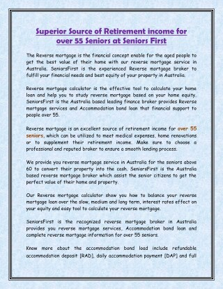 Superior Source of Retirement income for Over 55 Seniors at SeniorsFirst