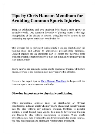 Tips by Chris Hanson Mendham for Avoiding Common Sports Injuries