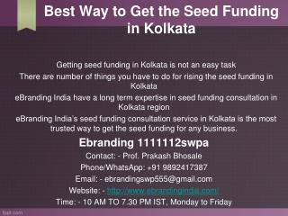 4.Best Way to Get the Seed Funding in Kolkata