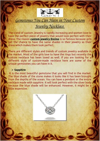 Gemstones You Can Have in Your Custom Jewelry Necklace