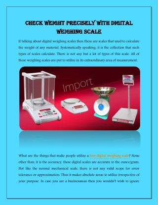 Check Weight Precisely with Digital Weighing Scale