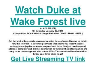 Duke at Wake Forest live watching | Men's College Basketball