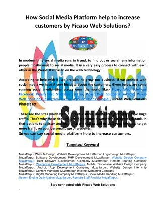 How Social Media Platform help to increase customers by Picaso Web Solutions?