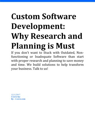 What does a custom software development needs: Research and Planning