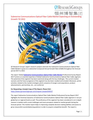 Global Submarine Communications Optical Fiber Cable Market Professional Survey Report